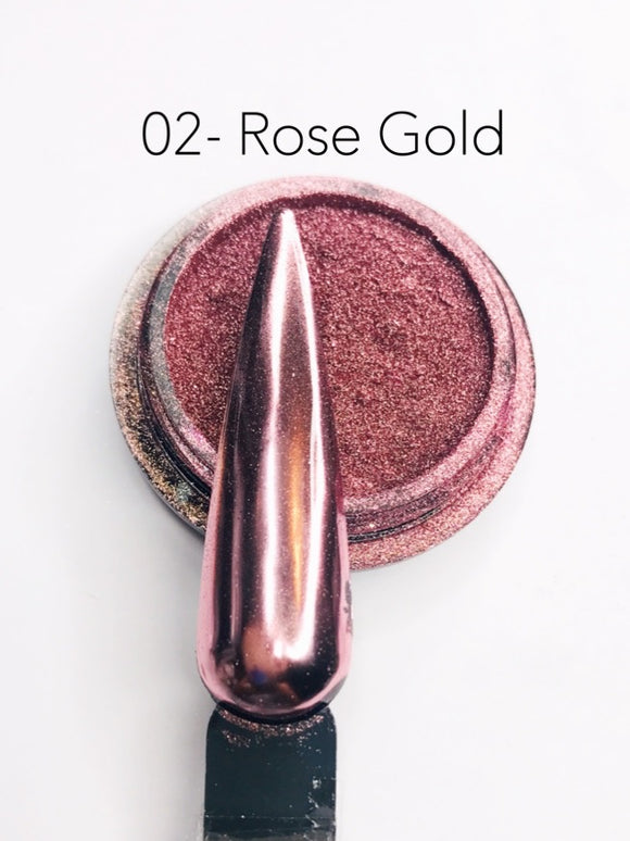 SHINE- 100% Pigment Chrome- Mirror Nail Powder #02-Rose Gold