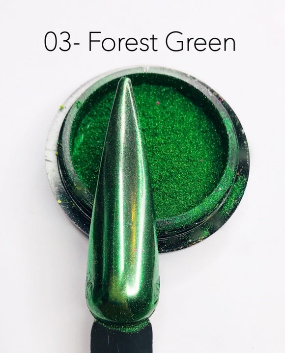 SHINE- 100% Pigment Chrome- Mirror Nail Powder #03- Forest Green