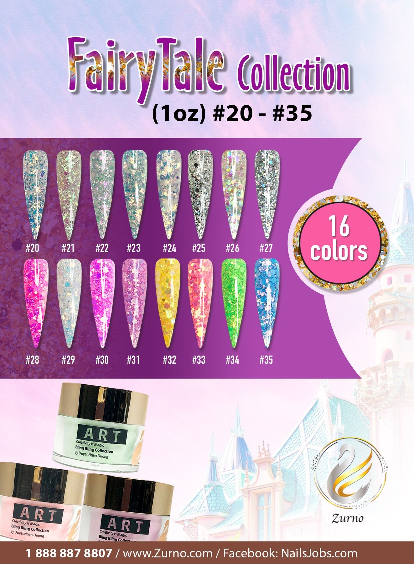 ZURNO-ART FAIRYTALE Collection- 16 color set (ACRYLIC + GLITTER)