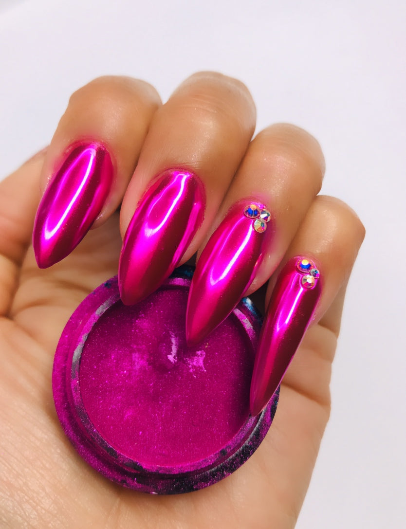 SHINE #10- Bright Pink - 100% Pigment Chrome- Mirror Nail Powder