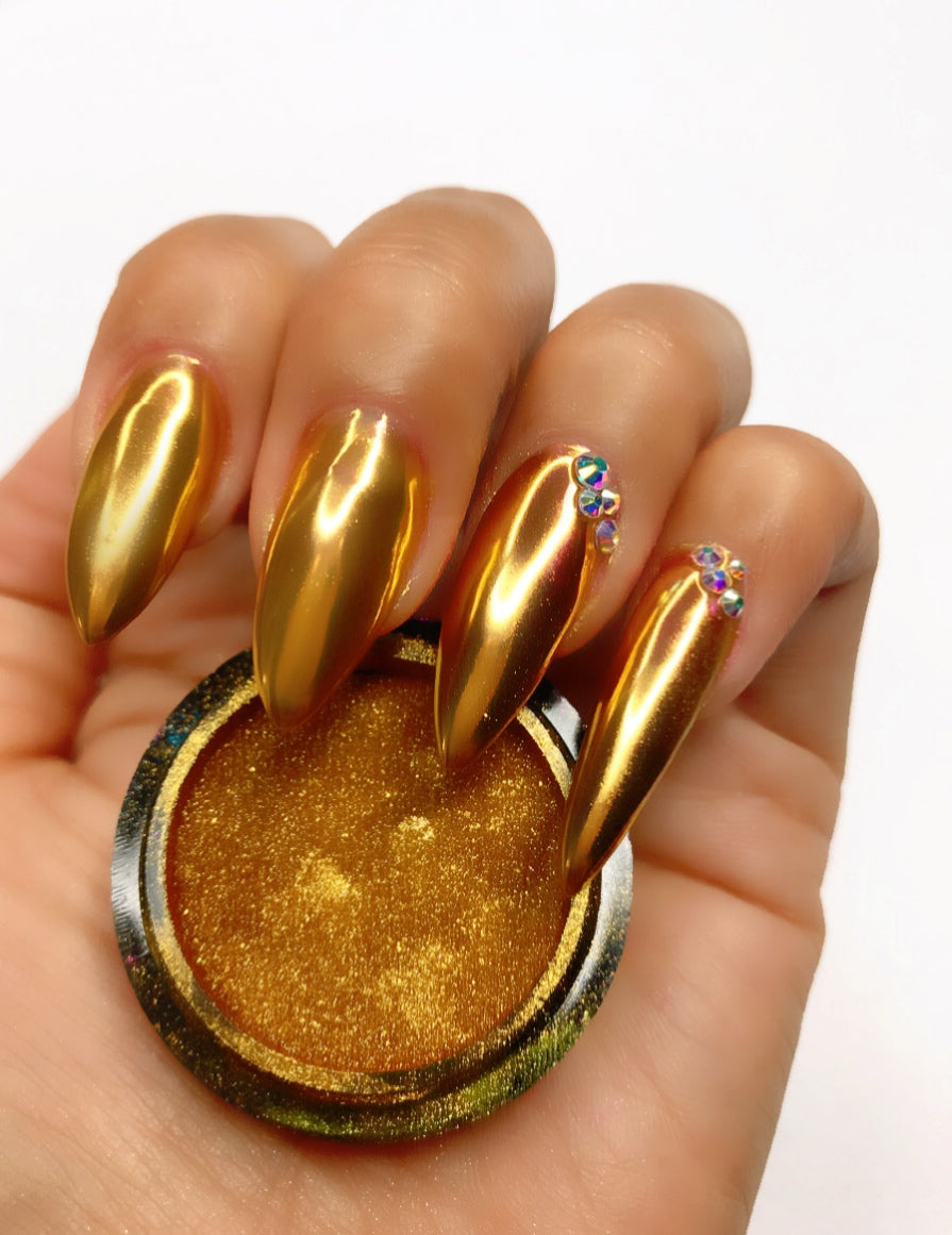 SHINE- 100% Pigment Chrome- Mirror Nail Powder #08- Gold
