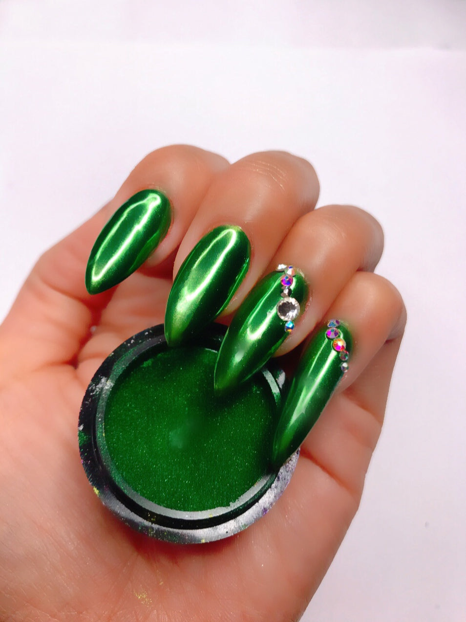 SHINE #03- Forest Green - 100% Pigment Chrome- Mirror Nail Powder