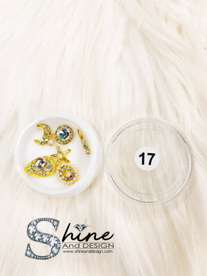 SHINE- Mix Alloy Charms with Crystals - Fancy Collection -( 10 Sets )