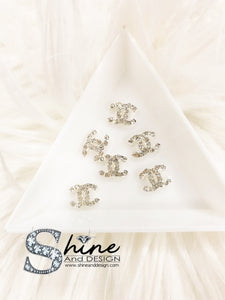 "Shine Metal Alloy Charms with Crystals -Runway Collection ""Silver Diamond- Coco Chanel Inspired"""