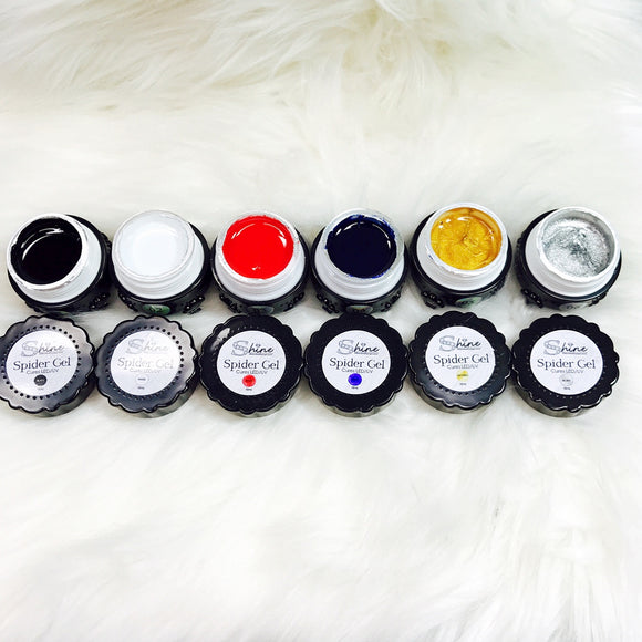 SHINE- Spider Gel- Elastic Rubber Gel- Nail Art Gel- Black, White, Red, Blue, Gold & Silver