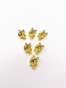 "SHINE Metal Alloy Charms -""Diamond Skull"" Gold"