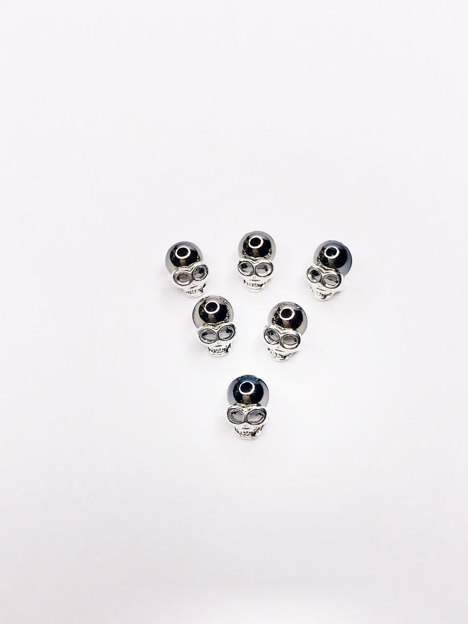 "SHINE Metal Alloy Charms -"" Skull"" w/ Black Pearl"