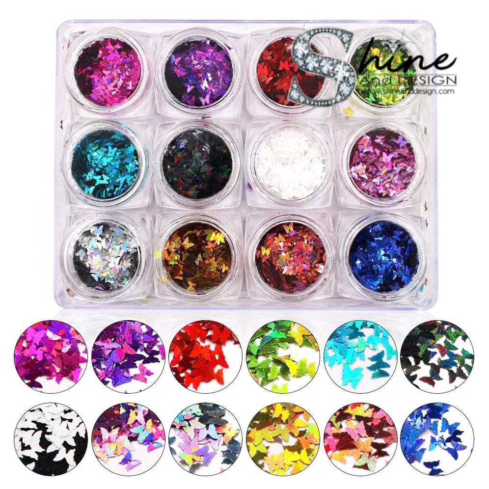 SHINE-  SEQUIN GLITTER HALO- Butterflies Mix- 12 Colors Set
