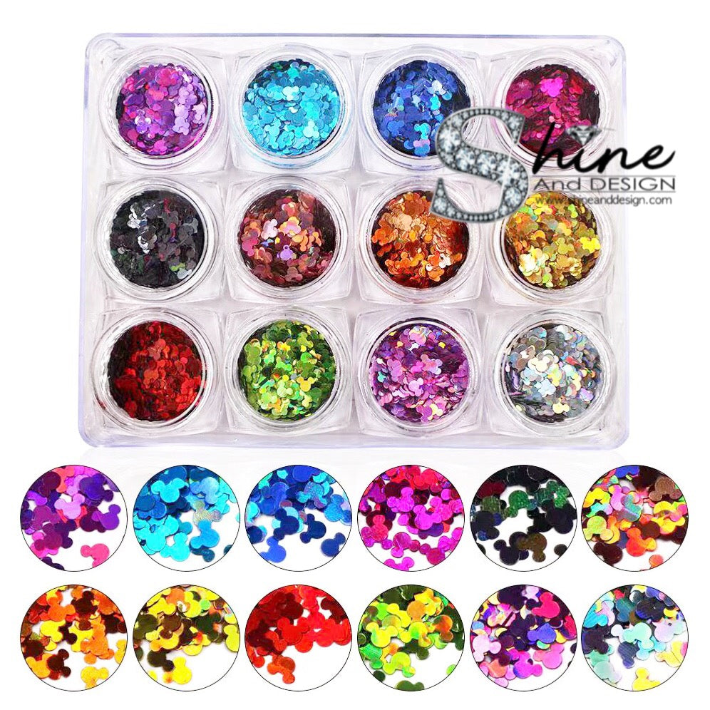 SHINE-  SEQUIN GLITTER HALO-Cosmic Circles Mix- 12 Colors Set