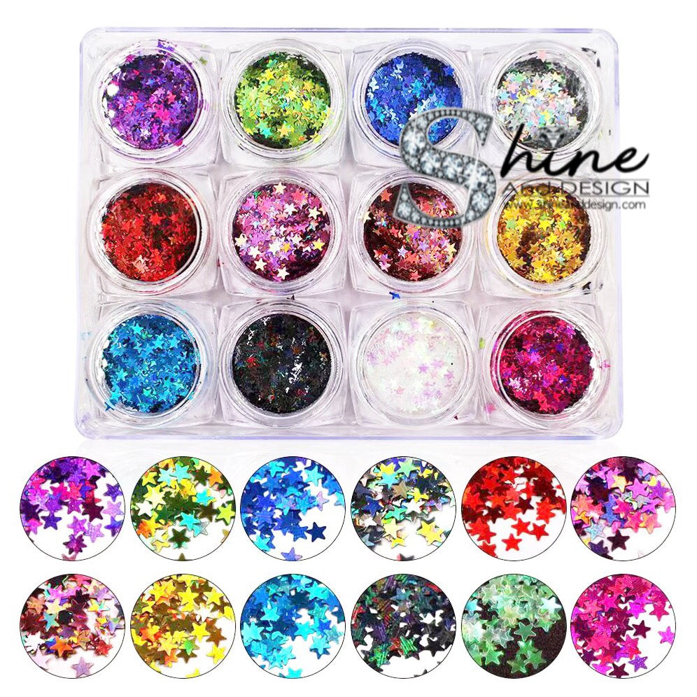 SHINE-  SEQUIN GLITTER HALO-Galaxy Stars Mix - 12 Colors Set