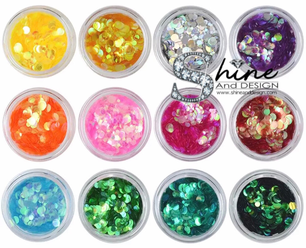 SHINE-  SEQUIN GLITTER HALO-Transparent Mermaid Flakes- 12 Colors Set