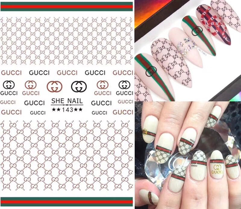 "SHINE- ""STICK iT""-3D Gel Stickers-GUCCI LOGO"