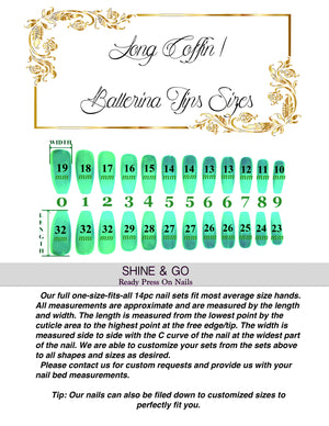 "SHINE & GO- ""Glamour Queen"" - #320 CUSTOM DESIGN SET -Press On Nails"