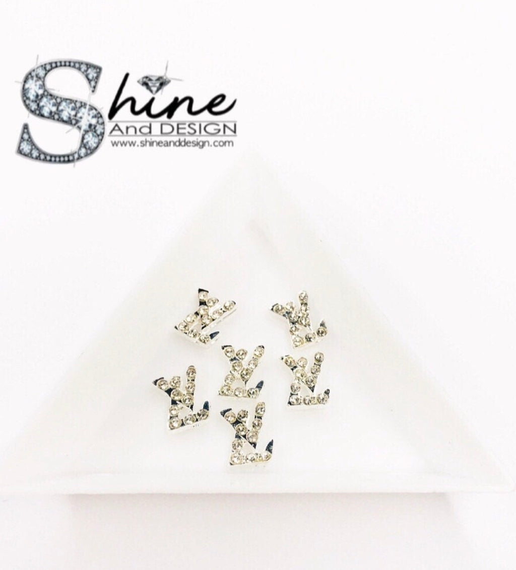 "Shine Metal Alloy Charms with Crystals -Runway Collection ""Silver Diamond- Louis Vuitton Inspired"""