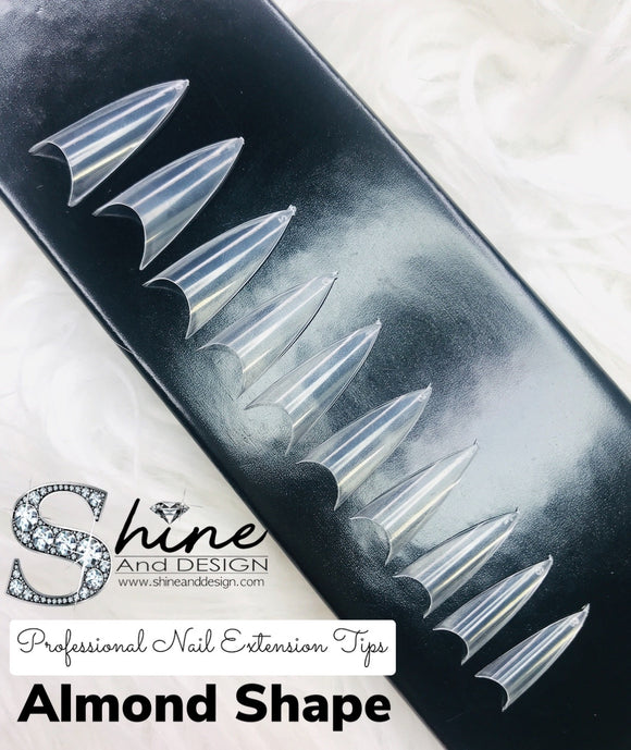 SHINE- Almond Clear Tips- 500pcs- Box Set