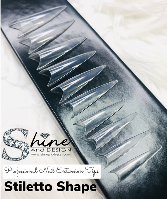 SHINE- Stiletto Clear Tips- 500pcs- Box Set