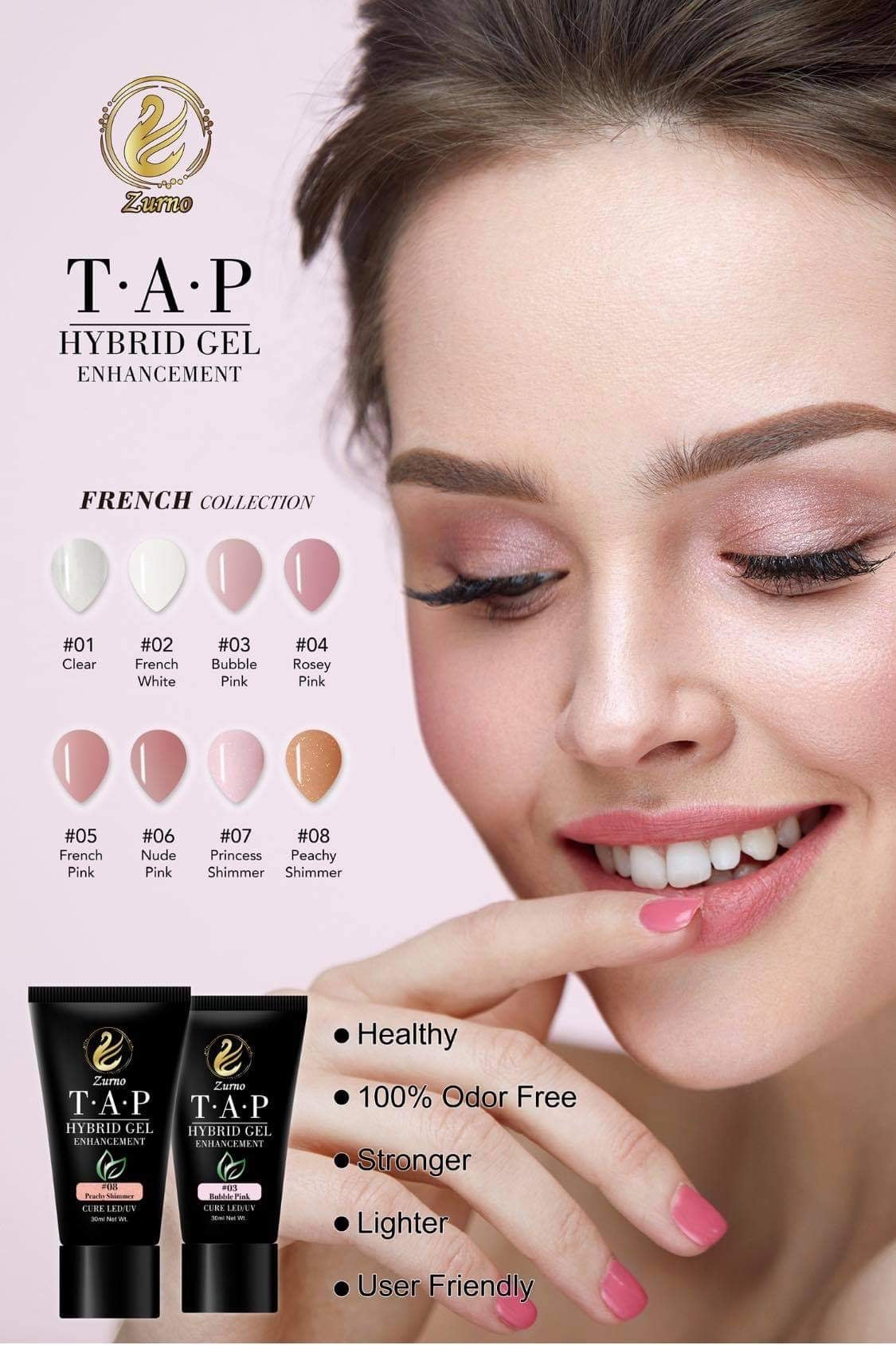 T.A.P- #03 Bubble Pink- 30ml / HYBRID GEL FRENCH Collection