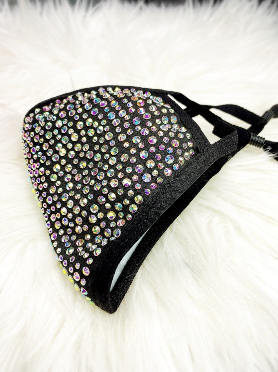 SHINE - Full Bling Crystal ~ Reusable Face Mask Protection (Black w/AB Crystals)