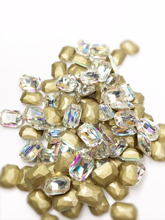 SHINE- Crystal AB- 3D Rhinestones- 8*10mm- RECTANGLE/ #33-AB