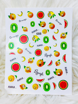 "SHINE- ""STICK iT""-Vinyl Self Adhesive Decals-5 pcs Set/FRUITY TOOTIE COLLECTION"