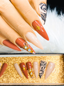 "SHINE & GO- ""Glamour Queen"" - #328 CUSTOM DESIGN SET -Press On Nails"
