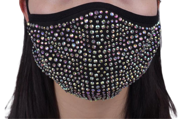 SHINE - Full Bling Crystal ~ Reusable Face Mask Protection (Black)