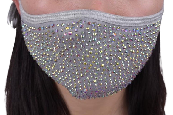 SHINE - Full Bling Crystal ~ Reusable Face Mask Protection (Grey)