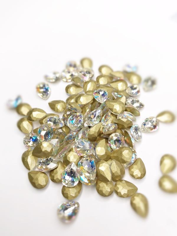 SHINE- Crystal AB- 3D Rhinestones- 6*8mm- DROP/ #140-AB
