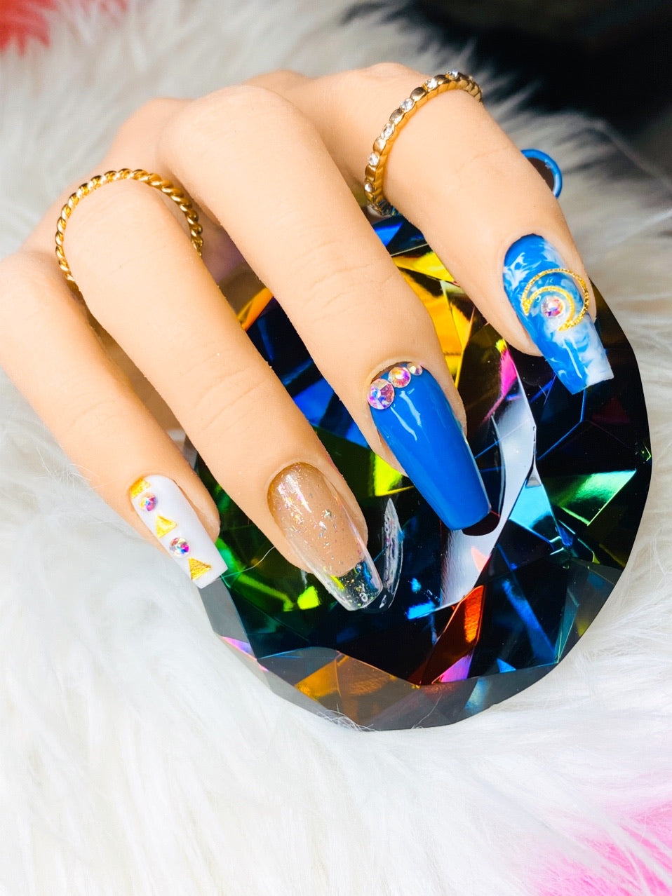 "SHINE & GO- ""Glamour Queen"" - #C337 CUSTOM DESIGN SET -Press On Nails"