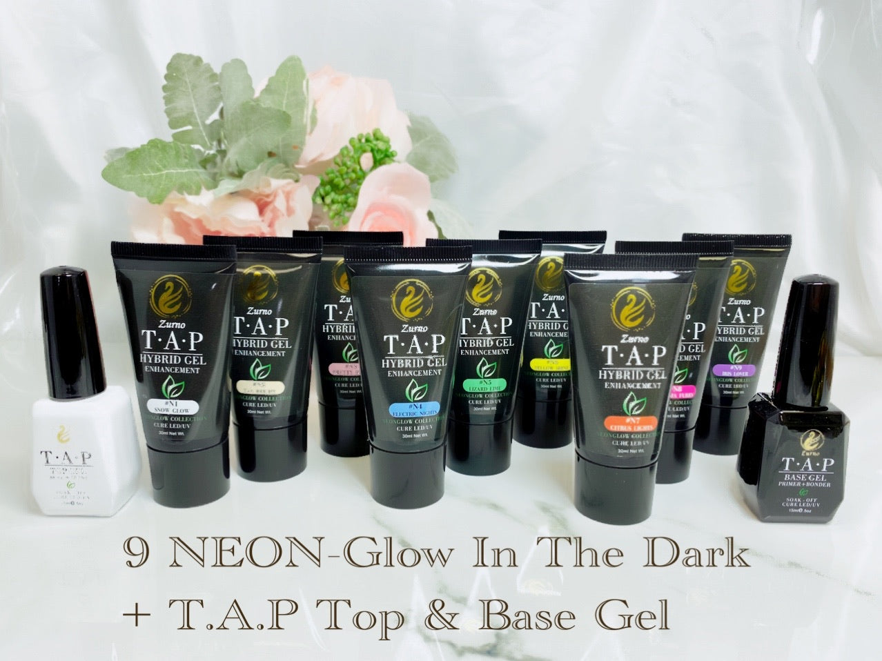 "T.A.P- HYBRID GEL ""NEONGLOW + FREE Top & Base Gel"" Box Set 10% OFF"
