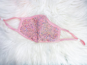 SHINE - Full Bling Crystal ~ Reusable Face Mask Protection (Princess Pink)
