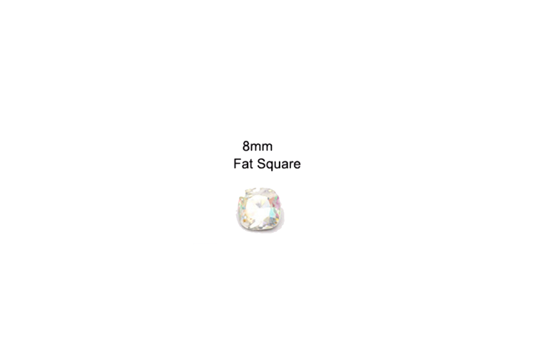 SHINE- Crystal AB- 3D Rhinestones- 8mm- FAT SQUARE/ #27-AB