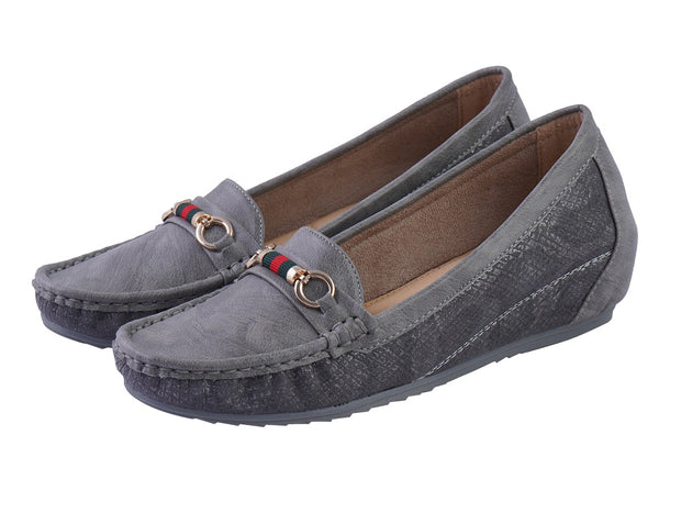 Jootavoota Women Grey Wedges Loafers (1312)