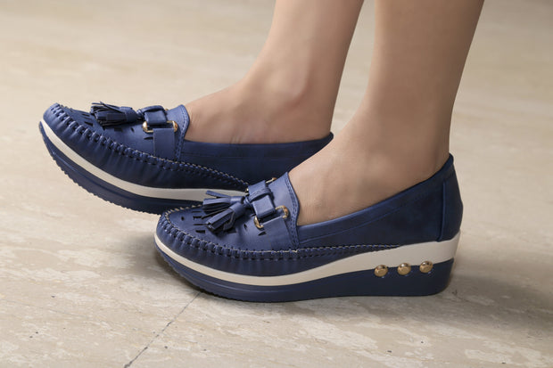 Jootavoota Women Royal Blue Heels Loafer (D-909)