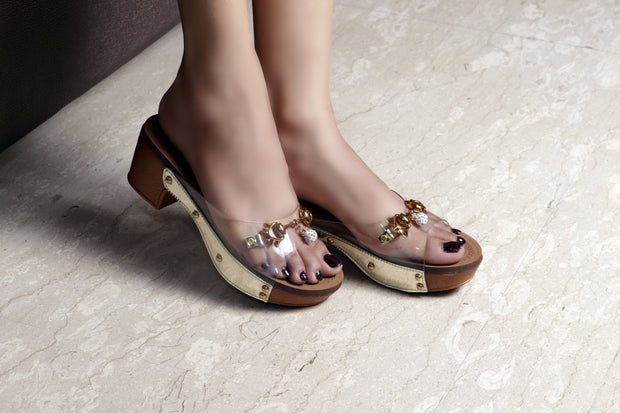Jootavoota Women Gold Wedges (B-787)