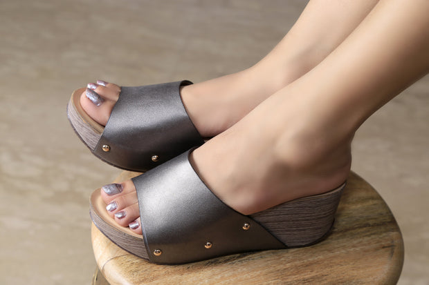 Jootavoota Women GunMetal Gold Wedges (CL-02)