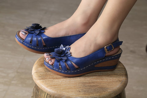 Jootavoota Women Blue Wedges (C54-01)