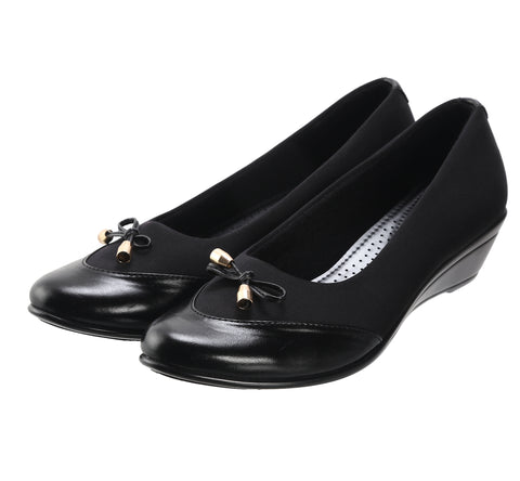 Jootavoota Women Black Wedges Ballerina (T-54)