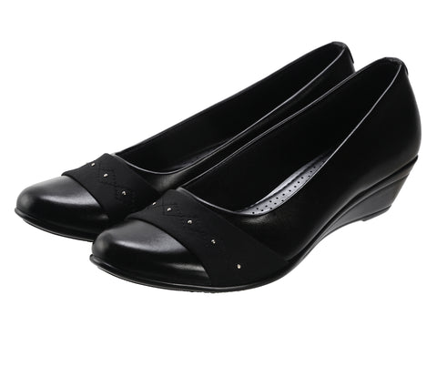 Jootavoota Women Black Wedges Ballerina (T-57)