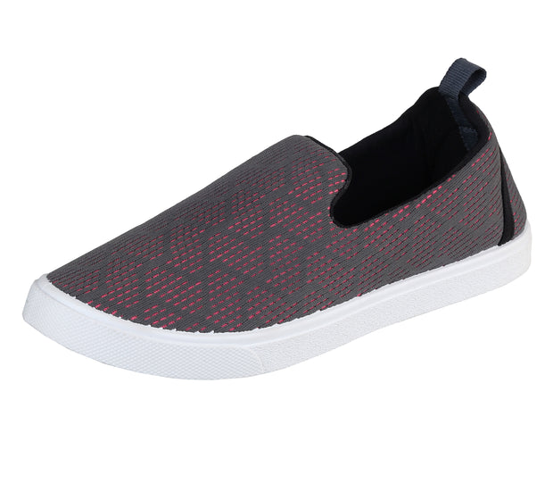 JOOTAVOOTA WOMEN'S & GIRLS | SLIP ON CASUAL SHOES | BREATHABLE | RUNNING | WALKING FLAT SHOES. (Grey & Pink color)