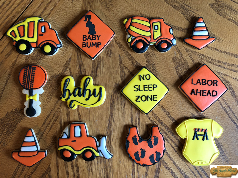 Construction Vehicle Baby Shower Decorated Sugar Cookie