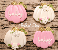 Decorated Sugar Cookie Baby Shower Pumpkin