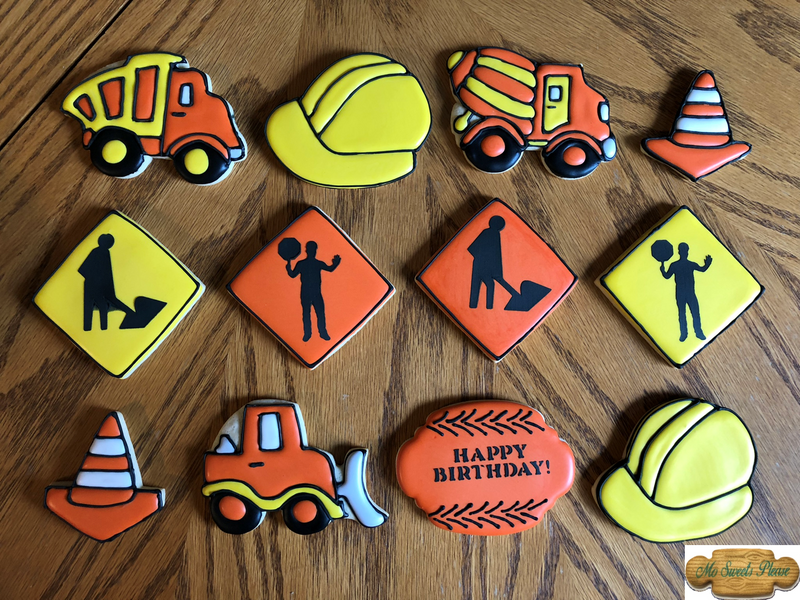 Construction Vehicle Birthday Decorated Sugar Cookie