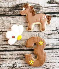 Decorated Sugar Cookie Horse Flower Birthday