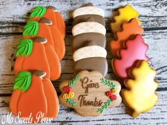 Decorated Sugar Cookie Thanksgiving Cookies
