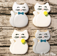 Decorated Sugar Cookie Sitting Cat Floral