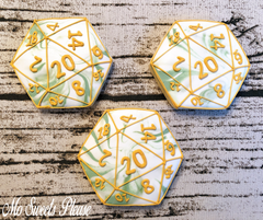 Decorated Sugar Cookie Dungeons & Dragons D20 Dice