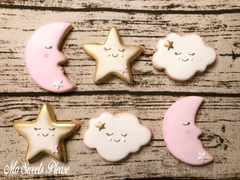 Decorated Sugar Cookie Baby Shower Moon Cloud Star Birthday