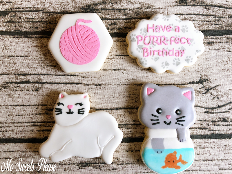 Decorated Sugar Cookie Cat Purrfect Birthday