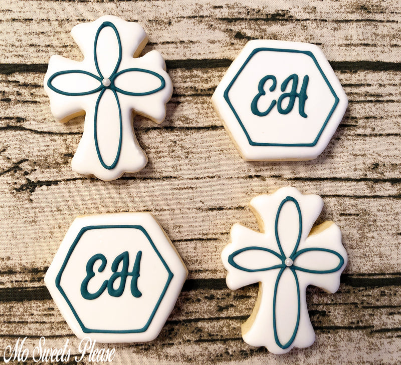 Decorated Sugar Cookie Cross Confirmation Communion Baptism
